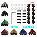10pcs 5mm Motorcycle Windshield Fairing Bolts Windscreen Screws Nuts + Allen Key