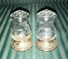 Vintage STERLING Silver Weighted Etched Glass Salt Pepper Shakers 703 HURRICANE