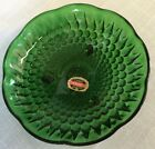 Vintage ANCHOR HOCKING Forest Green Bubble Pattern Glass Bowl 6 3/8