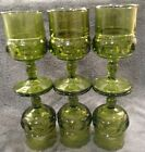 MINT SET OF 6 1970'S INDIANA AVOCADO GREEN KINGS CROWN 5-3/4'' 6 OZ WINE GOBLETS