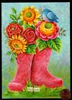 THINKING OF YOU Blue Bird Pink Boots Paisley Flowers RELIGIOUS Greeting Card
