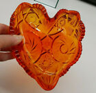 AMBERINA CANDY DISH Pinwheel Stars LE Smith Glass VTG 6'' Prescut Heart Shape