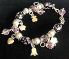Sterling Silver 925 Rose Glass Bead Bracelet Murano Glass 925 Charms