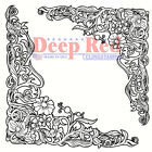 Deep Red Stamps Floral Corners Rubber Cling Stamp