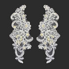 8x3 White Beaded Corded Sequins Embroidery Gorgeous Motif Applique by Pair