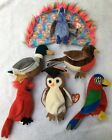 Lot of 6 TY Beanie Babies Flashy Wise Jake MAC Early Jabber Bird Collection