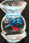 Murano Glass Fish in a Bag Blue Ribbon Paperweight 6 1 2 2lbs 4 Oz
