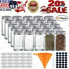 25 Condiment Pots Glass Spice Jars Containers With Square Empty 4oz Airtight Set