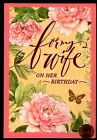 HALLMARK Birthday For Wife Flowers Butterfly Leaves Birthday Greeting Card NEW