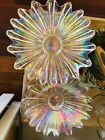 Carnival Glass Irredescent Clear Scalloped Sunflower Bowls Vintage 1960s