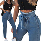 Womens Paper Bag Denim Jeans High Waist Pants Stretch Slim Fit Belted Trousers
