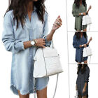 US Women Denim Long Sleeve Tassel Blouse Tops Mini Dress Ladies Casual T-Shirt