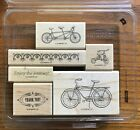 STAMPIN UP PEDALING PAST Wood Mount Rubber Stamp Set of 6 in Case BICYCLE BIKE