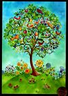 BIRTHDAY Whimsical Tree Birds Flowers Grassy Hill Birthday Greeting Card NEW
