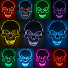 Halloween Mask LED Light Up Scary Skull Mask Costume Cosplay EL Wire Party Decor