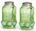 Salt  Pepper Shaker Set Eyewinker Green Opalescent Glass Mosser USA