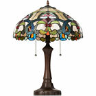 Tiffany Table Lamp Stained Glass Shade w Resin Base Circular Arc Reading Light