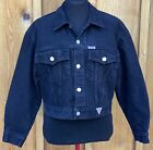 Vtg 1980s Guess Georges Marciano black denim oversized fit cropped jean jacket M