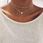 Double Layer Heart Choker Necklace Silver Tone Fashion Jewelry