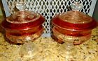 Vintage King's Crown Indiana Glass Ruby Cranberry 2 Covered Candy Compote Pair