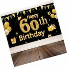 60th Birthday Party Decoration Extra Large Black Gold Sign Poster 60th Birth