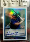 2009 FREDDIE FREEMAN BOWMAN CHROME REFRACTOR AUTO BCP101 # 240 500 BECKETT RAW