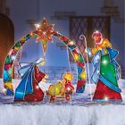 Outdoor Christmas Lighted Stake 4Pcs Yard Mosaic Nativity Decoration Xmas Garden