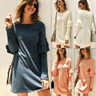 Womens Plus Size Long Sleeves T-shirt Ladies Casual Party Mini Dress Blouse Tops