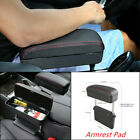 Black Height Adjustable Car Center Console Armrest Storage Box Elbow Support