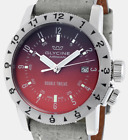 Glycine Double Twelve Dual Time Automatic Wristwatch Red Dial Complete Low Price