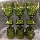 MINT SET OF 6 INDIANA MOUNT VERNON AVOCADO GREEN 8 OZ WATER GOBLETS GLASSES 6