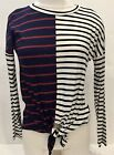 Sun N Moon Ladies Striped Long Sleeve Blouse White Size Small
