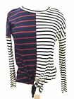 Sun N Moon Ladies Tie Front Striped Blouse White And Blue Size Medium