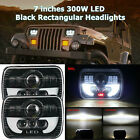 Pair 300W 5x7 7x6 LED Headlight Hi Lo Beam Halo DRL For Jeep Cherokee XJ YJ