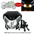 12V Motorcycle Bike Front LED Headlamp Assembly Cover Dual Street Fairing Light