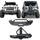 Steel Front Rear Bumper w Winch Plate Floodlight for Jeep Wrangler JK 07 18
