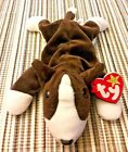 Original Ty Bruno the Dog Beanie Babies 1997 Baby Retired Puppy Tags Brown White