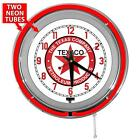 Texaco Gasoline 15 Inch Red Double Neon Wall Clock From Redeye Laserworks