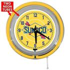 Sunoco Gasoline 15 Inch Yellow Double Neon Wall Clock From Redeye Laserworks