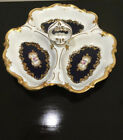 Reichenbach GDR Germany Echt Kobalt Cobalt Blue Gold Divided Pottery China Dish