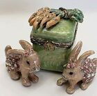 Jay Strongwater Rabbits Bunny With Carrots Enameled Trinket or Pill Box