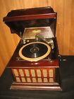 ANTIQUE WINDUP SILVERTONE DISC PHONOGRAPH IN MAHOGANY CABINET