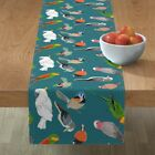 Table Runner Parrot Birds Wildlife Bird Drawings Native Feathers Cotton Sateen