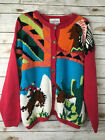 Vtg Knit Stitches Womens M Rodeo Cowboy Indian Native American Western Sweater