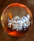 Vintage Moser Czechoslovakia Bubble Clear Orange Art Glass Paper Weight