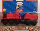 THOMAS & FRIENDS WOODEN RAILWAY ~ JAMES ~ RARE 2001 NO LINES RED DOME EDITION!!!