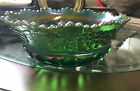Northwood Grape and Cable Green Carnival Glass Large Fruit Bowl