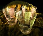 3 Mid Century Glass Tumblers Pink Yellow with Gold Leaves Free Domestic Shipping
