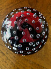 CARLO MORETTI Round Red Black Paperweight 1997 Signed Glass Teardrops