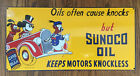 SUNOCO MOTOR OIL KEEP MOTORS KNOCKLESS DONALD MICKEY PLUTO HEAVY PORCELAIN SIGN